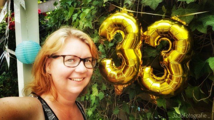 Feest, verjaardag, drieendertig, ballonnen.