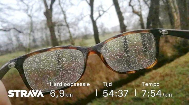 Bril met berekende glazen, hardlopen, Strava, aantal kilometers: 6.9